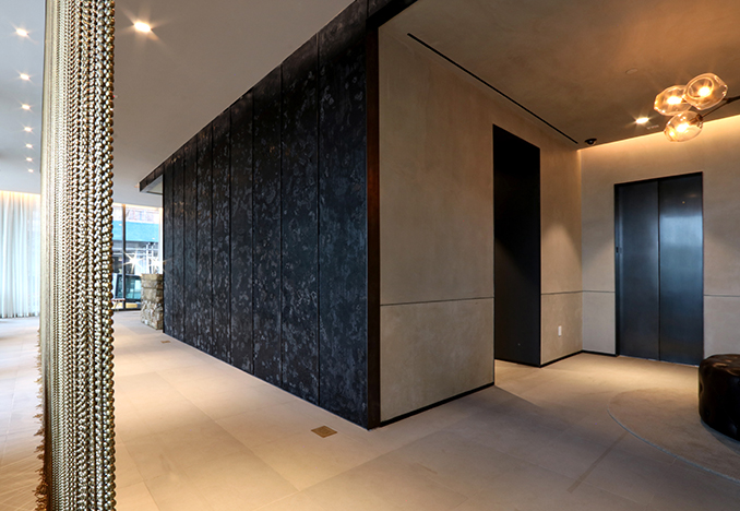 panels as lobby feature wall